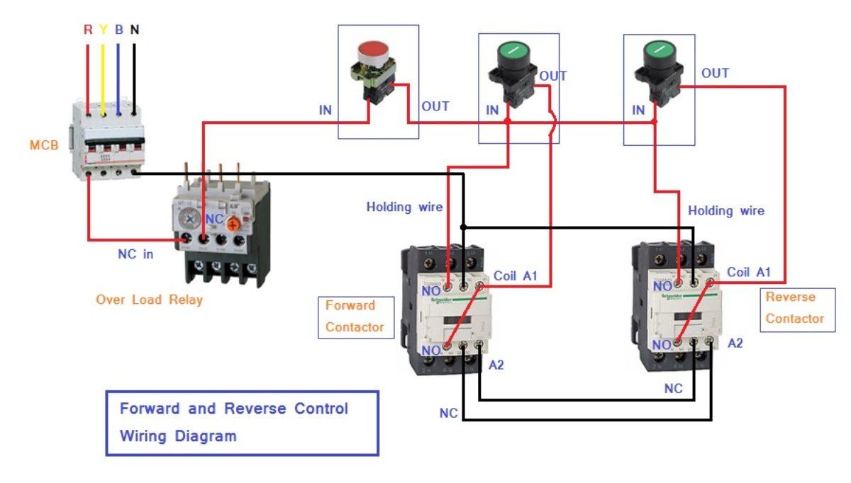 No Nc Contactor Wiring Diagram from electronicgyan.com